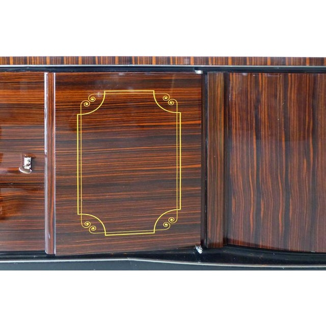 1930s French Art Deco Macassar and Ebony Credenza with Bar Compartment For Sale - Image 4 of 11