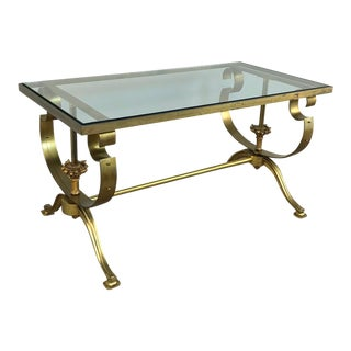 Mid-Century Brass & Glass Coffee Table For Sale