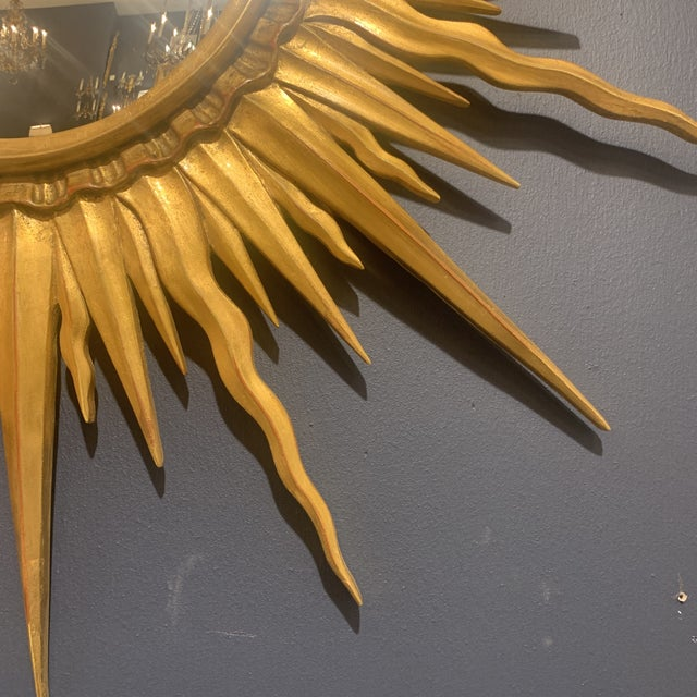 Gold Gold Leaf Sunburst With Convex Mirror For Sale - Image 8 of 13