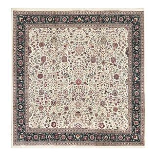 Traditional Hand Woven Green and Ivory Wool Rug 10' X 10' For Sale