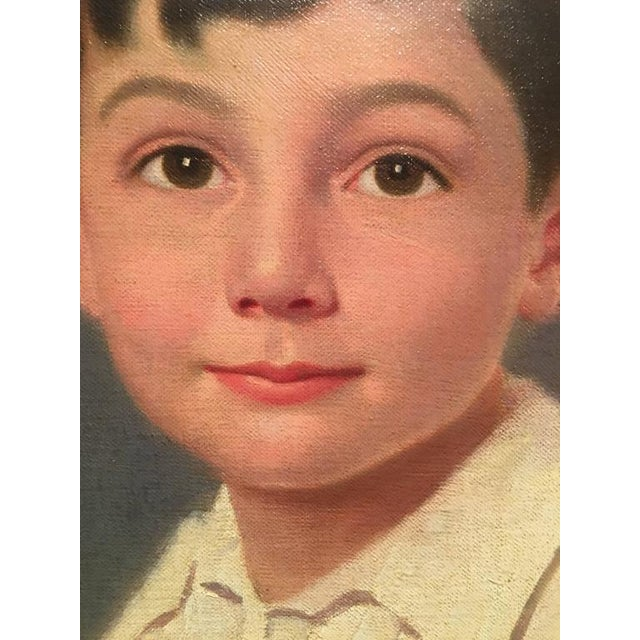 Oil Paint 1929 Seated Young Boy Portrait Painting by Joshua Smith R.B.A. For Sale - Image 7 of 9