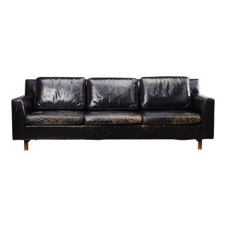 Edward Wormley Black Leather Sofa for Dunbar Mid Century Modern Couch For Sale