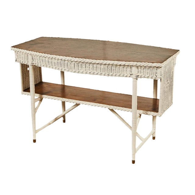 1920s White Wicker Table For Sale