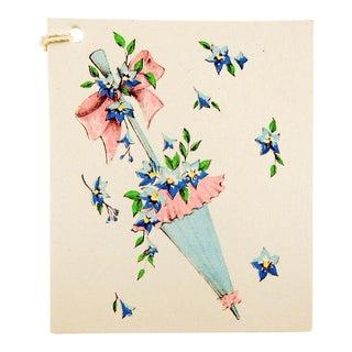 Vintage 1950's Floral Umbrella Shower Bridal or Baby Bridge Tally Cards - Set of 8 For Sale