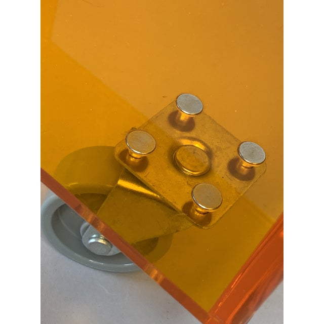 Orange 1990s Modern Translucent Orange Lucite Rolling Storage Cube/Side Table on Wheels For Sale - Image 8 of 11
