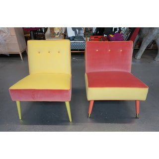 Vintage Juxtaposition Coral and Yellow Slipper Chairs- A Pair Preview