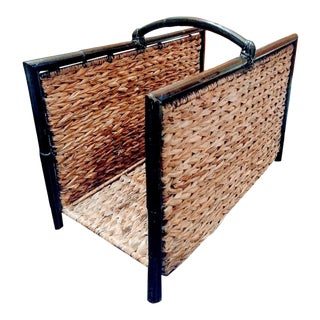 Vintage Braided Banana Leaf and Bamboo Wood Magazine Rack Stand Holder For Sale