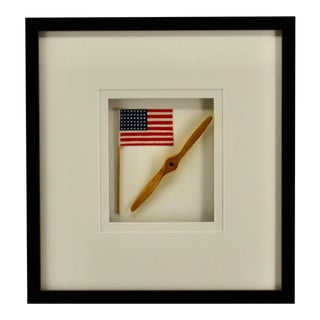 Boy's Room Wall Art, 48 Star Flag With Propeller For Sale