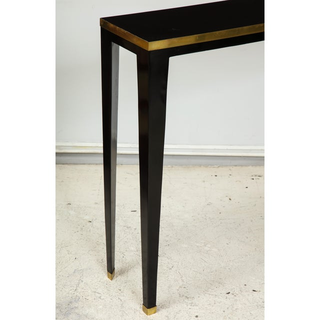Custom Ebonized Brass-Banded Consoles on Tapered Legs For Sale - Image 4 of 9