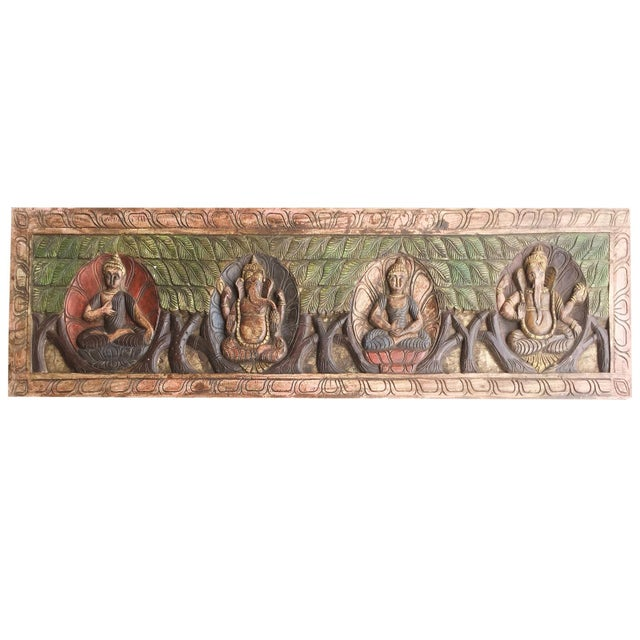 Early 18th Century 18th Century Asian Antique Hand Carved Buddha Ganesha Headboard For Sale - Image 5 of 5