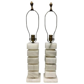 Pair Vintage Marble Stacked Lamps For Sale