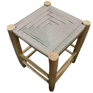 Modern Moroccan Grey Stool For Sale