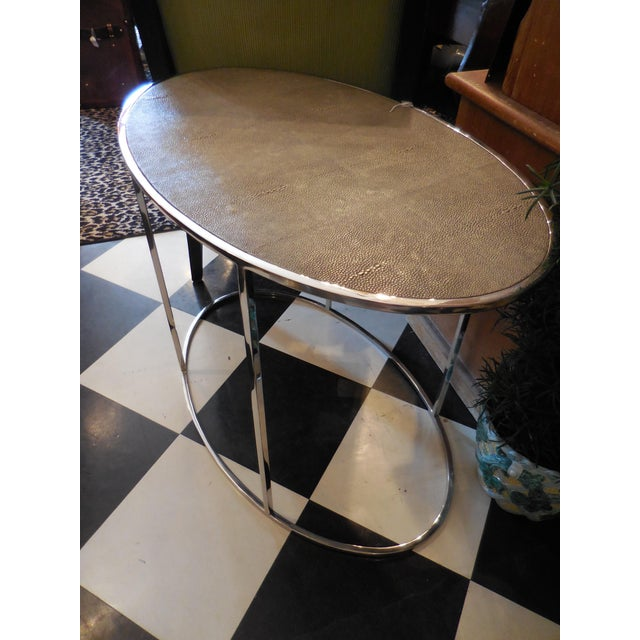 Theodore Alexander Oval Shagreen Top Table For Sale In West Palm - Image 6 of 6