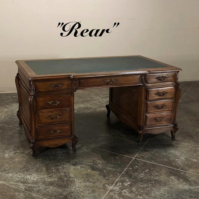 Late 19th Century Grand 19th Century Louis XIV Walnut Partner's Desk For Sale - Image 5 of 13