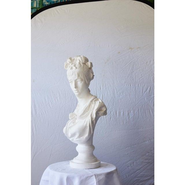 Rococo Elegant Hollywood Regency Large Plaster Bust For Sale - Image 3 of 13