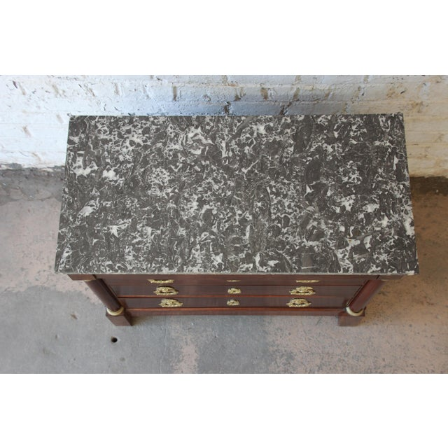 French Empire Mahogany Marble Top Commode Chest of Drawers, Circa 1850 For Sale - Image 9 of 13