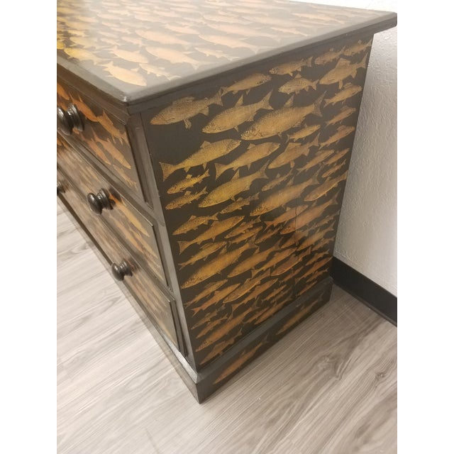Antique English Fish Decoupage Chest of Drawers - Two Drawers Over Two Drawers For Sale - Image 11 of 13