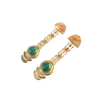 Opulent Semi Precious Malachite Cabochon Gilt Metal Pierced Statement Earrings For Sale
