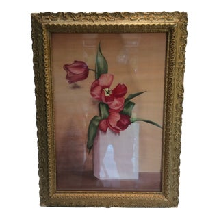 1948 Framed Floral Watercolor by I. D. Stephens For Sale