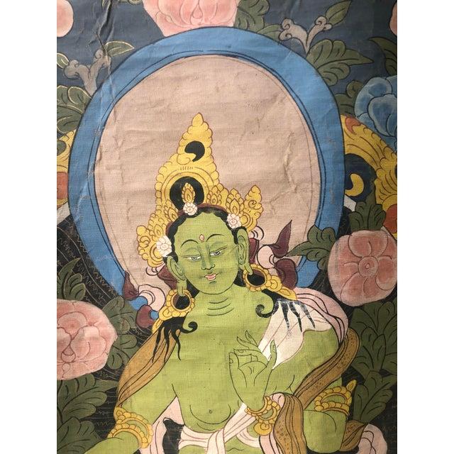 1930s Vintage Buddhist Tibetan Thangka Hand Painted For Sale - Image 5 of 8