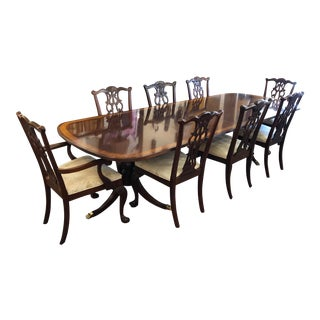 1990s Traditional Ethan Allen Double Pedestal Dining Set - 9 Pieces For Sale