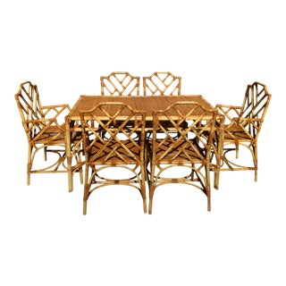 Chinese Chippendale Style Rattan Dining Set For Sale