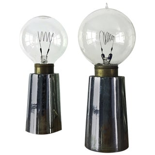 Rare California Design Line Bill Curry Pick-Up Lite Table Lamps Chrome Design For Sale