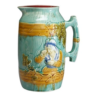 Barbotine Glazed Earthenware Milk Jug For Sale