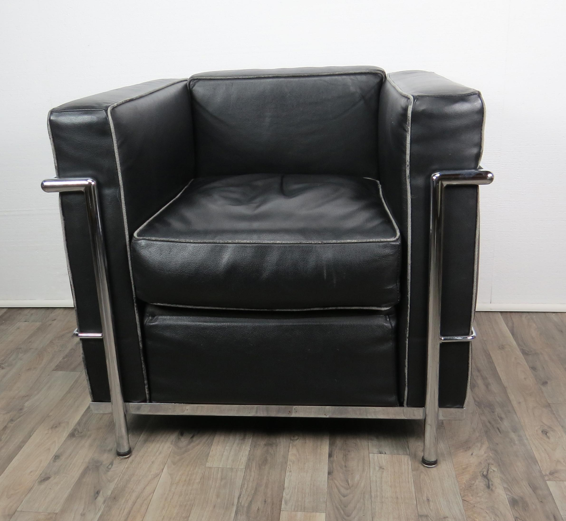 Superb Black Leather Le Corbusier LC2 Club Chair By Cassina Italy. Polished  Chrome Frame With