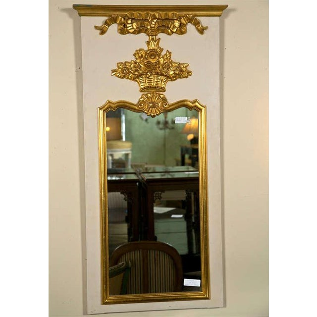 Wood French Louis XVI Style Painted and Parcel Gilt Trumeau Mirror Exquisite Detail For Sale - Image 7 of 7