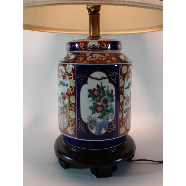 Ceramic Japanese Imari Ginger Jar Lamp & Silk Shade For Sale - Image 7 of 9