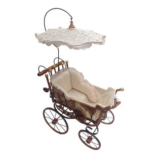 Antique Wicker Doll Stroller For Sale