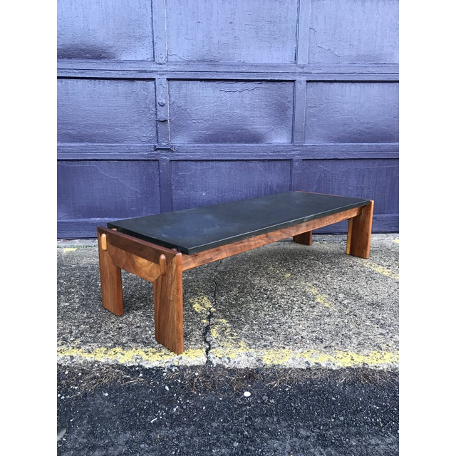Restored Adrian Pearsall Walnut Slate Coffee Table Craft Associates For Sale - Image 12 of 12