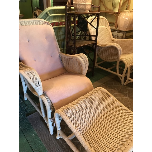 Vintage Coastal Wicker Sling Back Chairs and Ottomans-A Pair For Sale - Image 12 of 13