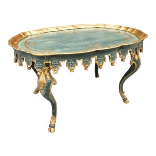 Italian Green and Parcel-Gilt Tassels Tea Table For Sale