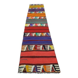 "Vintage Turkish Multicolor Kilim Runner-2'9'x9'6"" For Sale"