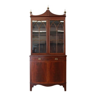 Antique Mahogany Banded Edge Cabinet For Sale