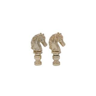 Brass Horse Head Lamp Finials - a Pair For Sale