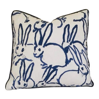 Lee Jofa Groundworks Bunny Hutch Print Blue Pillow Cover For Sale