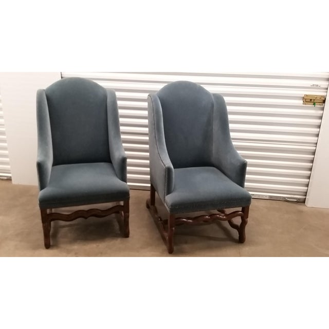 Blue Vintage Os De Mouton Chairs Upholstered in Blue Sapphire Mohair - a Pair For Sale - Image 8 of 9