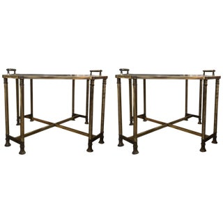 Modern Glass Top Brass Octagon Coffee Tables - a Pair For Sale