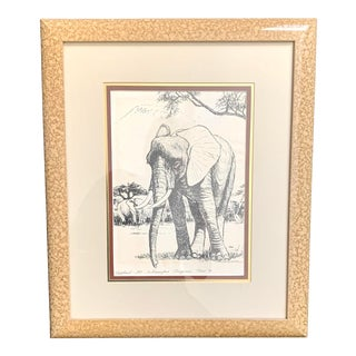 1970's Caroline Schultz Kilimanjaro Elephant Lithograph, Framed and Numbered For Sale