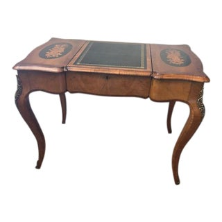 Antique French Walnut & Marquetry Writing Desk