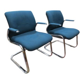 1980s Vintage Chrome Steelcase Chairs- A Pair For Sale
