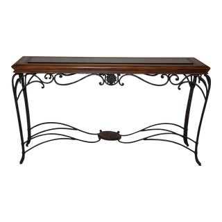 Tuscan Style Wood Iron and Glass Foyer Entry Table For Sale