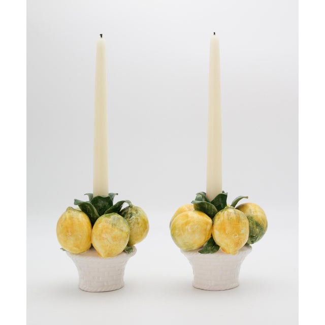 Green Vintage Italian Majolica Lemons Candle Holders - a Pair For Sale - Image 8 of 9