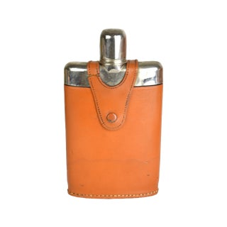Vintage Leather Wrap Liquor Flask For Sale