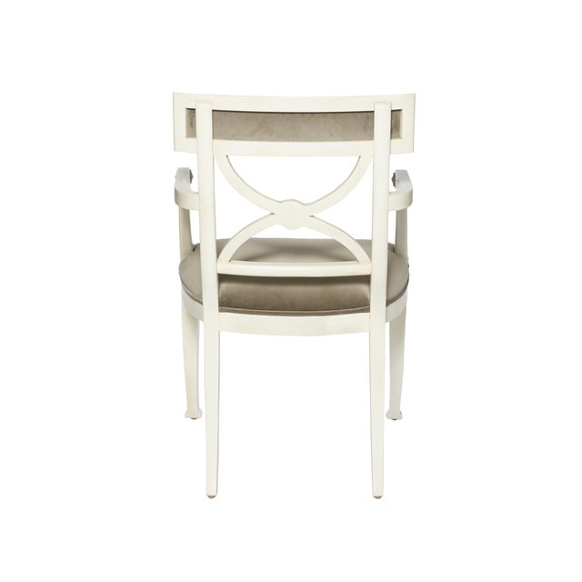 Wood Schumacher Westminster Gainsborough Velvet Grey Hand-Carved Beechwood Armchair For Sale - Image 7 of 9