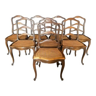 French Walnut Caned Louis XV Ladderback Chairs- Set of 8 For Sale