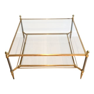 Mid Century Maison Jansen Brass Coffee Table With 2 Tiers Glass Shelves Circa 1940 For Sale
